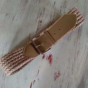 Leather and woven chord belt